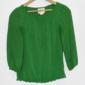 Maeve Anthropologie Green Peasant Blouse Textured